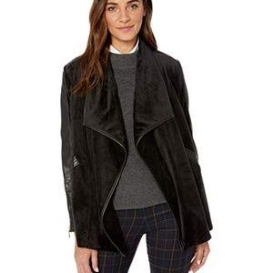 Calvin Klein Faux Leather Trim Flyaway Jacket